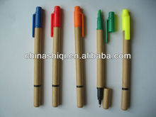biodegradable novelty 2in 1 recycled paper ball pen