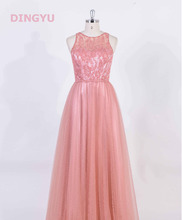 Beautiful floor-length net pink long sweetheart lace evening dress