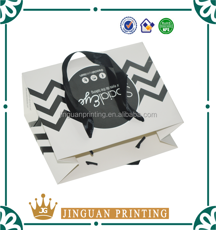 Logo Custom Hot Sell Shopping Paper Bag With Black Ribbon Belt