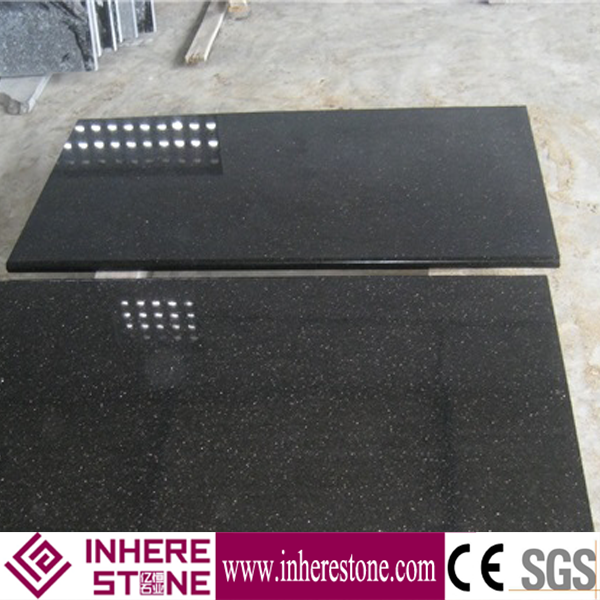 Low price black galaxy granite tile 600x600