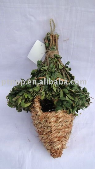 2013 Grass bird nest with green leaves with hook hanging bird nest