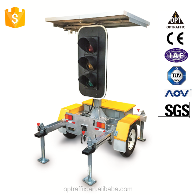 Optraffic High Quality Traffic Divert Solar Powered Mobile Stop and Go Signs LED Directional Street Traffic Signal Lights