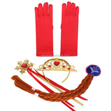 Export hot sales multicolor Frozen children crown sets wig+gloves+magic wand