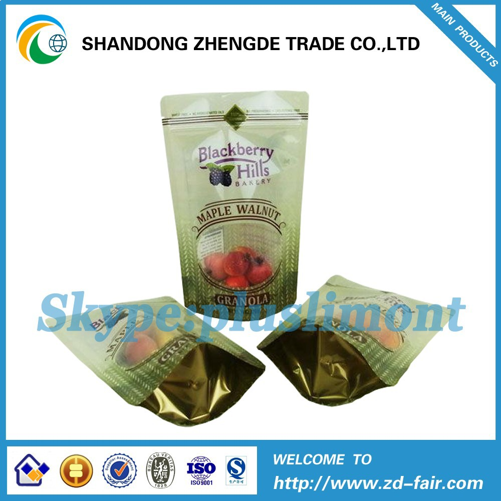 PET/AL/PE Laminated Snack Packaging Zipper Bag For Black Berry