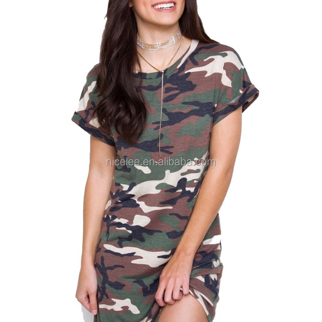 NS0473 latest women fashion dress ladies camouflage printed t shirt dresses