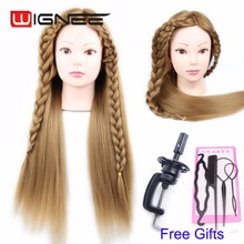 Free Shipping 24 inches Synthetic Hair Mannequin Head For Hair braiding training Doll Head With Free Clamp Hair Salon equipment