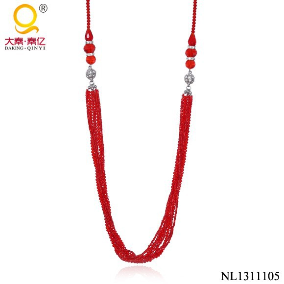 Latest design red indian beads necklace jewellery, cheap indian beads jewellery design