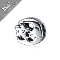 925 Pure Sterling Silver Star And Moon Jewelry Beads European Style