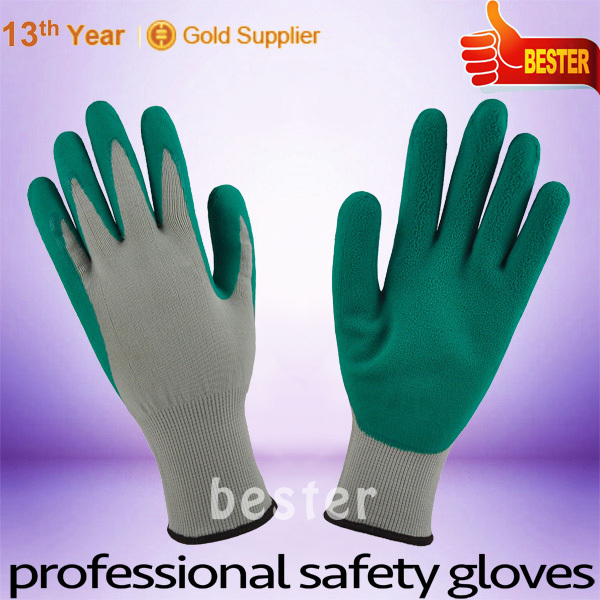 High Performance Good Elastic Polyester Knitted Gloves With Green Foam Rubber Latex coating At Great Low Price