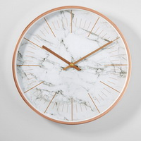 Concave number metal wall clock with copper frame clock