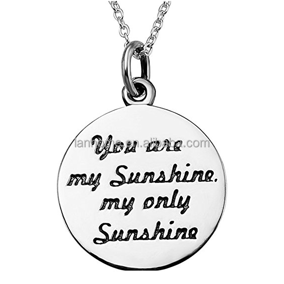 You Are My Sunshine 925 Sterling Silver Engrave Coin Chain Necklace