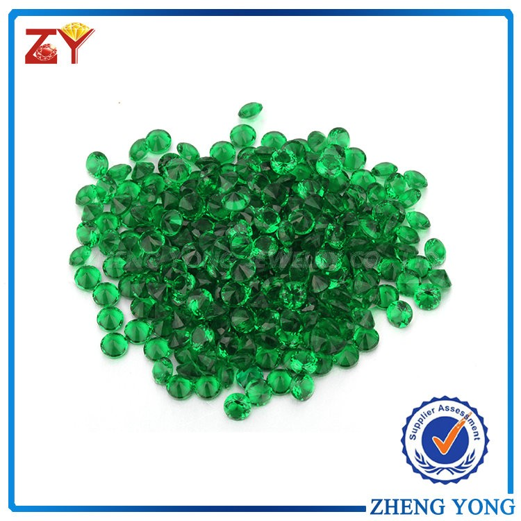 Bright green fine round brilliant cut synthetic rough gemstone crystal glass stone prices