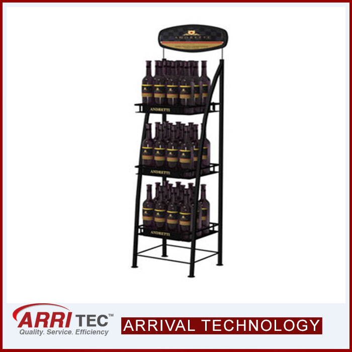 hot sale new design movable double joint rack with wheels logo brand printing shelf metal stand drink bottle dipslay rack