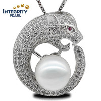 9-10mm AAA grade round Leopard head fashion cool 925 sterling silver pearl pendant jewelry