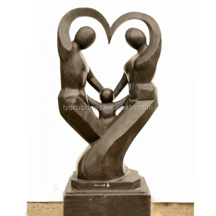 Marble art abstract naked family portrait sculptures decorative stone modernist statue