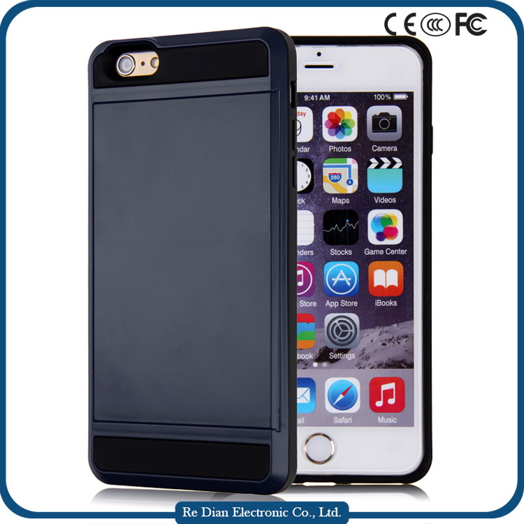 Hottest Shockproof TPU+PC Cell Phone Case with Card Cash Holder For iPhone6 Plus
