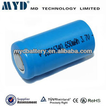 competive price high capacity 3.7V 650mah 16340 battery