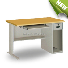 Wood top metal frame computer standing table