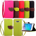 Hot Selling High Quality PU Leather Flip Cover Wallet Case for Samsung Galaxy J1 with Hand Strap