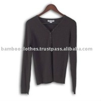 Women's Henley Style Ribbed Sweater