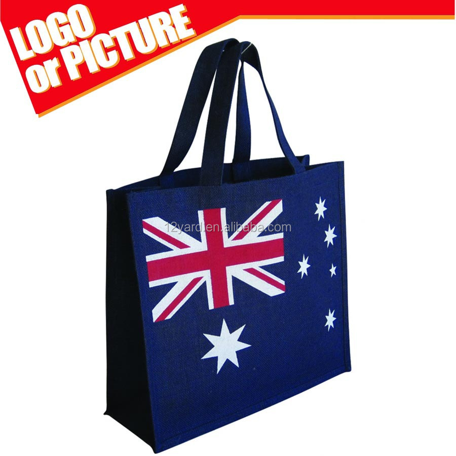 Latest American Flag Design fashionable Eco Friendly, Natural Jute/Burlap handing canvas shopping bag