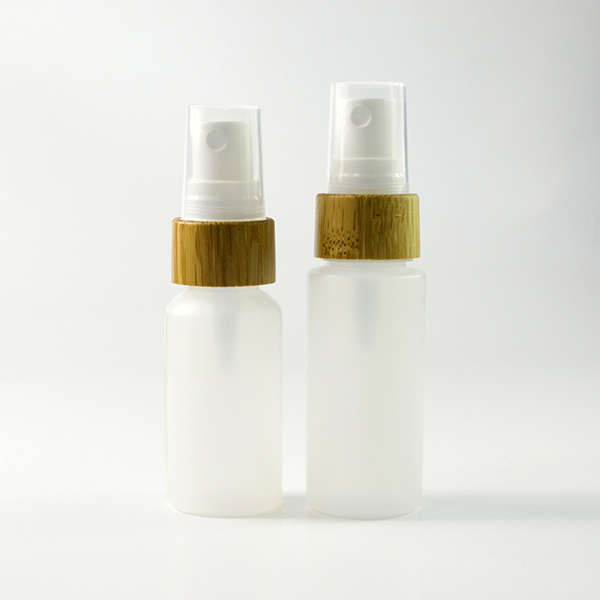 Best selling wholesale 30ml 60ml 100ml 120ml 250ml PE bottle with bamboo spray and pump spray cap