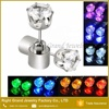 Fashion 7mm Cubic Zirconia Surgical Steel LED Light Up Barbell Ear Studs Earrings