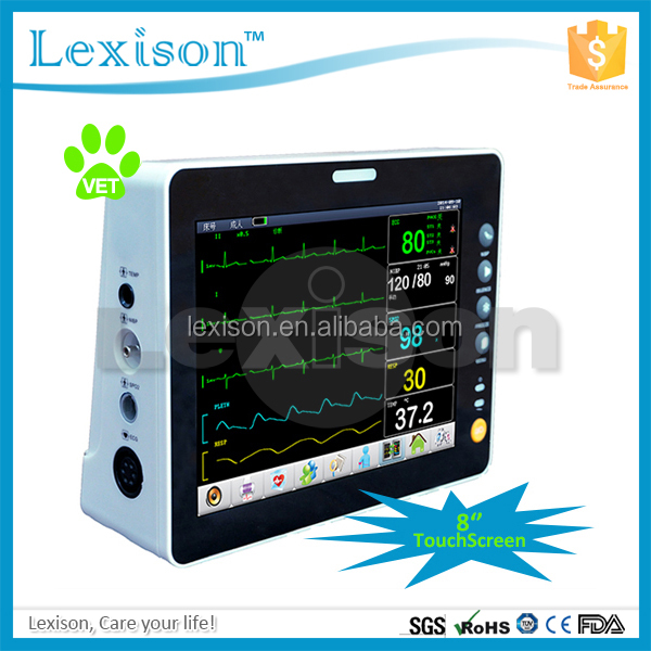 8 inch Portable Waterproof Medical Animal/Veterinary Patient Monitor with 6 Parameters(PPM-J2008V)