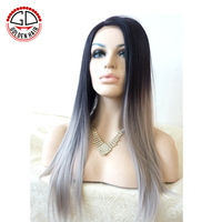 High Quality Heat Resistant Fiber Lace Front Straight Grey Ombre Hair Synthetic Wig