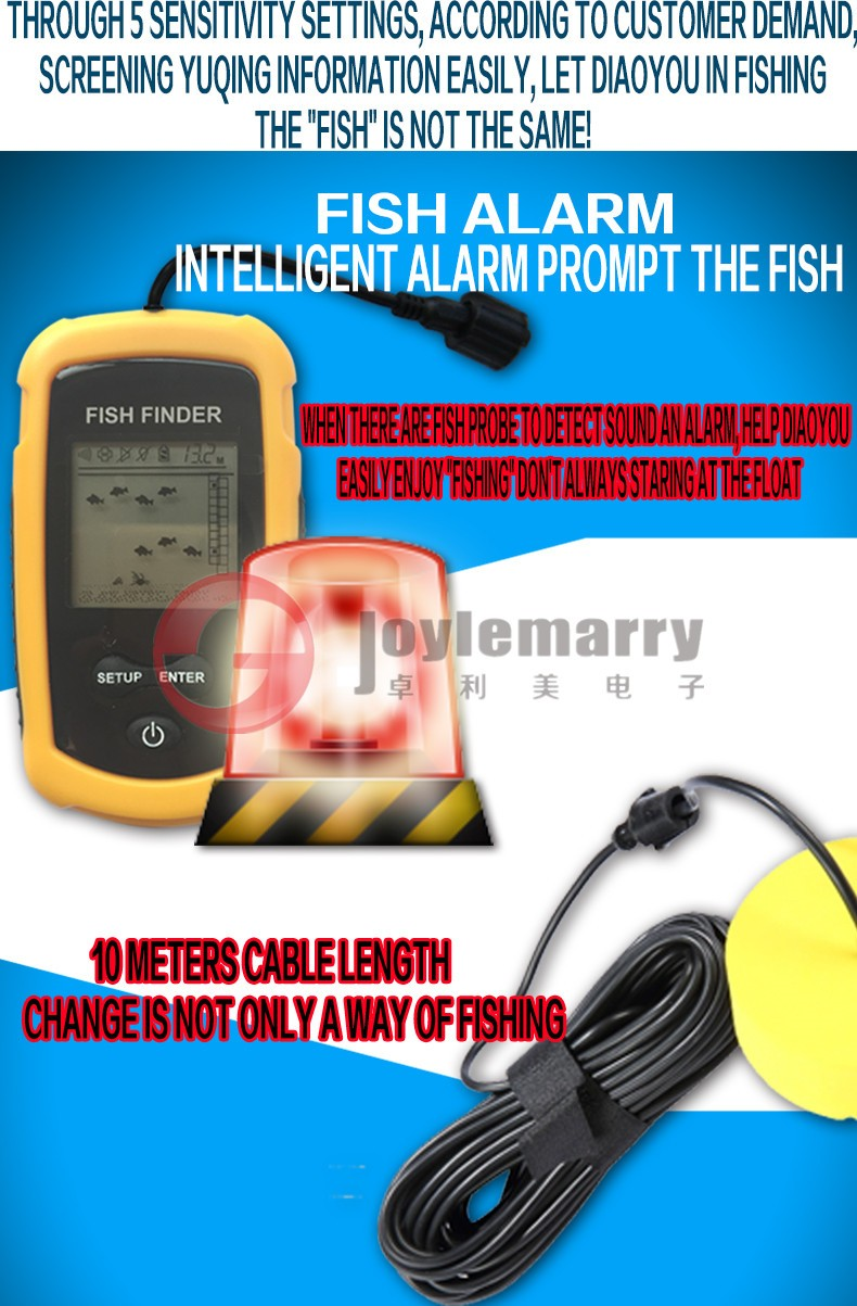 Portable lcd display sonar sensor fish finder 40m depth for How does a fish finder work