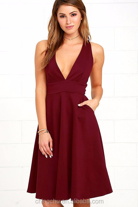 Woman fashion Deep V sleeveless Classic A- Line dress Elegant Mini sexy Dress