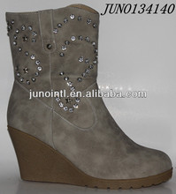 Italian shoes Brand Women Winter Fashion High Wedge Boots