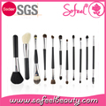 Custom Duo end 11pcs Black Travel Makeup Cosmetic Brush Set With Leather Bag