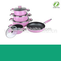 High Quality Pink Aluminum Non stick Pressed/Forged Induction Kitchen Cookware Set (ZS-C60109)