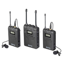 Boya UHF Dual Wireless Lavalier Microphone System Lav Interview Mic 2 Transmitters 1 Receiver for DSLR Video Camera BY-WM8