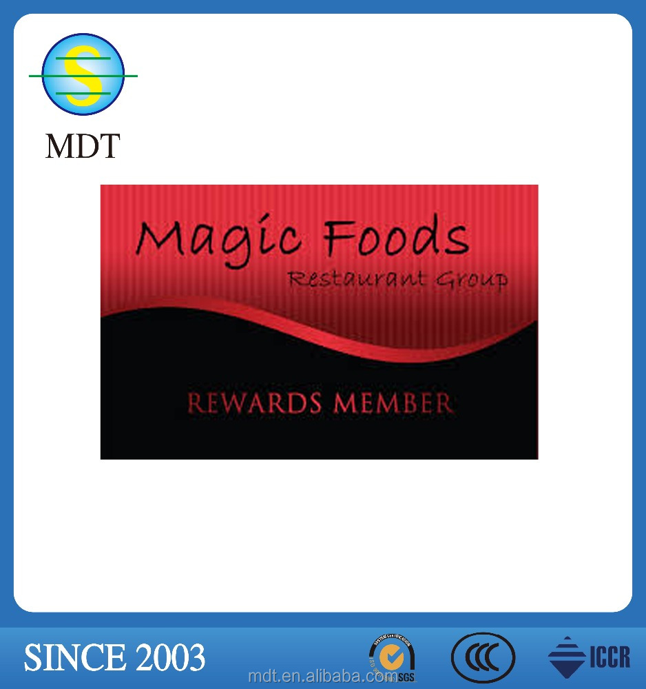 magic food pvc material membership card/business card