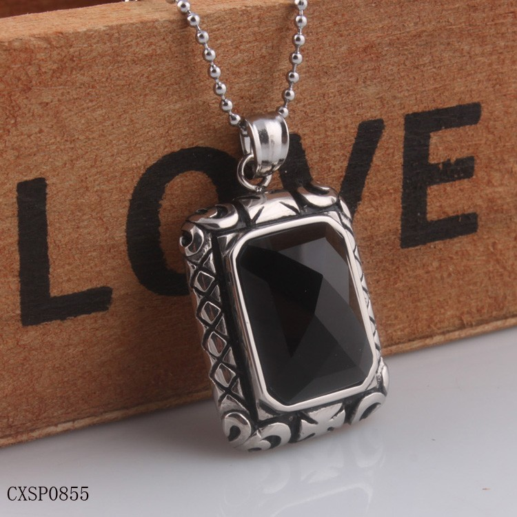 Square Stainless Steel Heavy Pendant Necklace For Men With Black Agate
