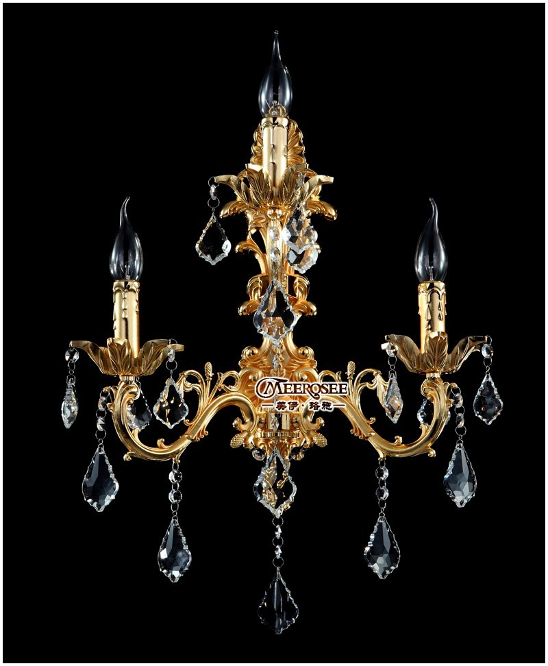 Classic Golden Crystal Wall Light Fixture Silver Wall Sconces Lamp Crystal Wall Brackets Light Free Shipping MD8861