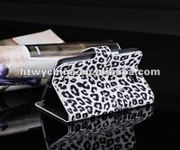 Stylish Book Type Leopard pouch leather case for samsung galaxy note 2 n7100