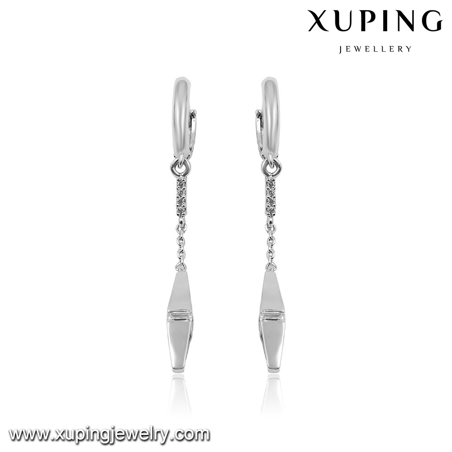 92746 Xuping new arrival top grade fancy rhodium gold plated drop earring with copper alloy setting cz stone