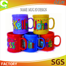 souvenir 3d plastic mug name soft pvc kids personalized plastic mugs