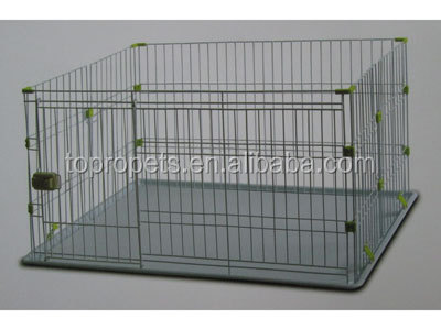 Dog Crate Kennel - Pet Playpen Cage w/ Plastic Tray Pan