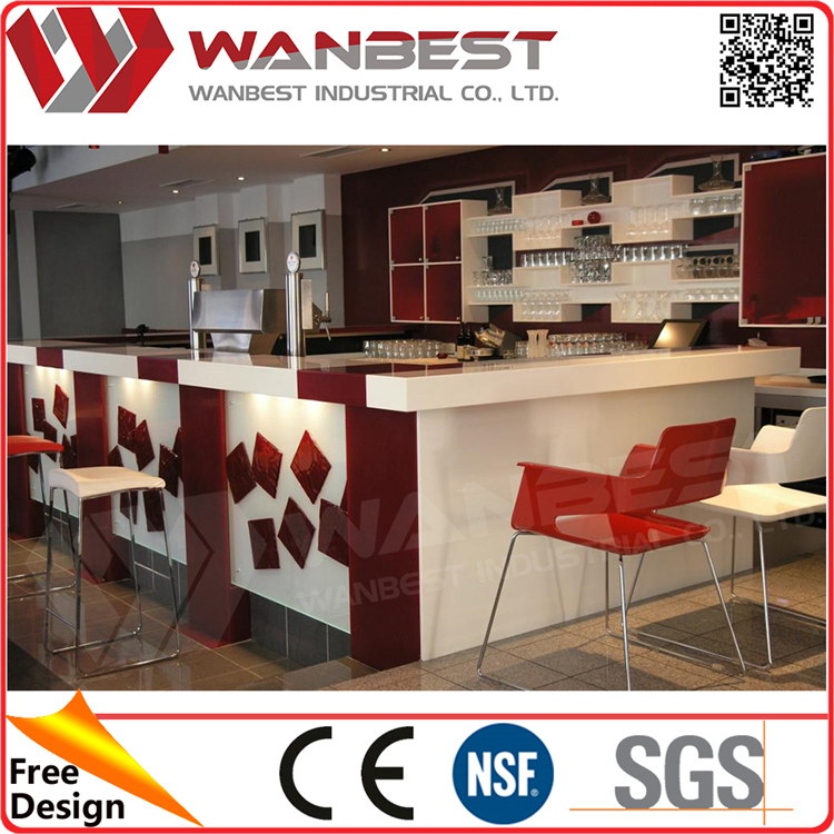 2016 hot sell western style commercial fast food Modern Led Bar Counter Factory design