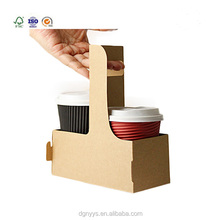 Top Design Coffee Cup Drink Carrier Box Two Cups Coffee Take Away Box With Handle