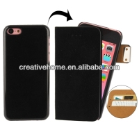 Flannelette Horizontal Flip Leather + Detachable Plastic Case with Credit Card Slots for iPhone 5C
