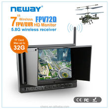 Wireless Reciever 5.8Ghz Support TF Card High definition in CCTV Car camera 7 inch HD-MI LCD Monitor dvr car