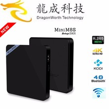 Shenzhen factory 100% orginal quad core smart tv box kodi 16.0 full loaded mini m8s 4k amlogic s905 firmware android tv box