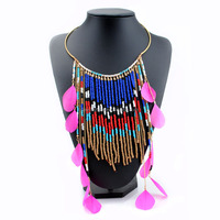 Wholesale New Product Exotic Feather Tassel Necklace Fashion Seed Bead Jewelry