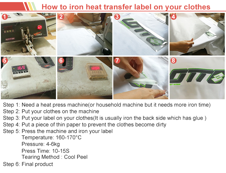 custom factory price iron on clothes sticker iron on transfer heat transfer printing lables company in China