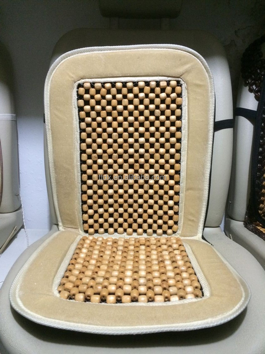 Car accessories Wooden beads with velour car seat cushion
